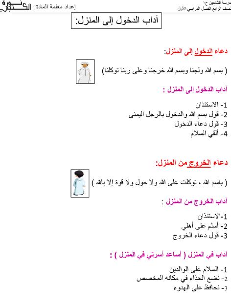 ملخص دروس التربية الاسلامية للصف الرابع