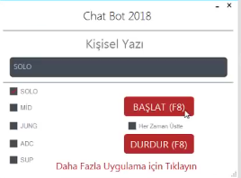 LOL Seçim Eranında İlk Koridoru Seçme Hile Şubat 2018 Chatbot