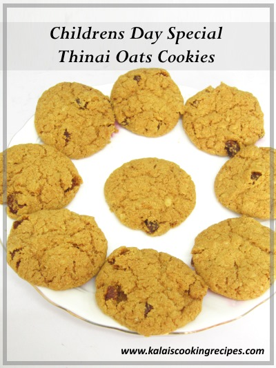 thinai oats raisins cookies