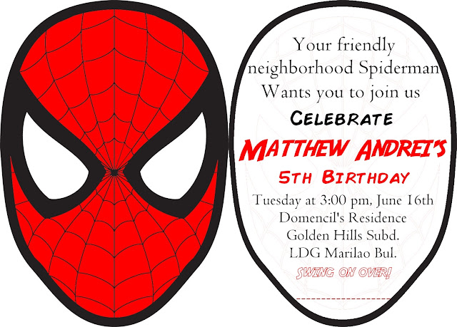 DYI, Spiderman, Invitation, Birthday Party