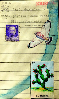 Henry Miller mexican lottery card el nopal prickly pear cactus library card Dada Fluxus mail art collage italian postage stamp hawk eagle bird