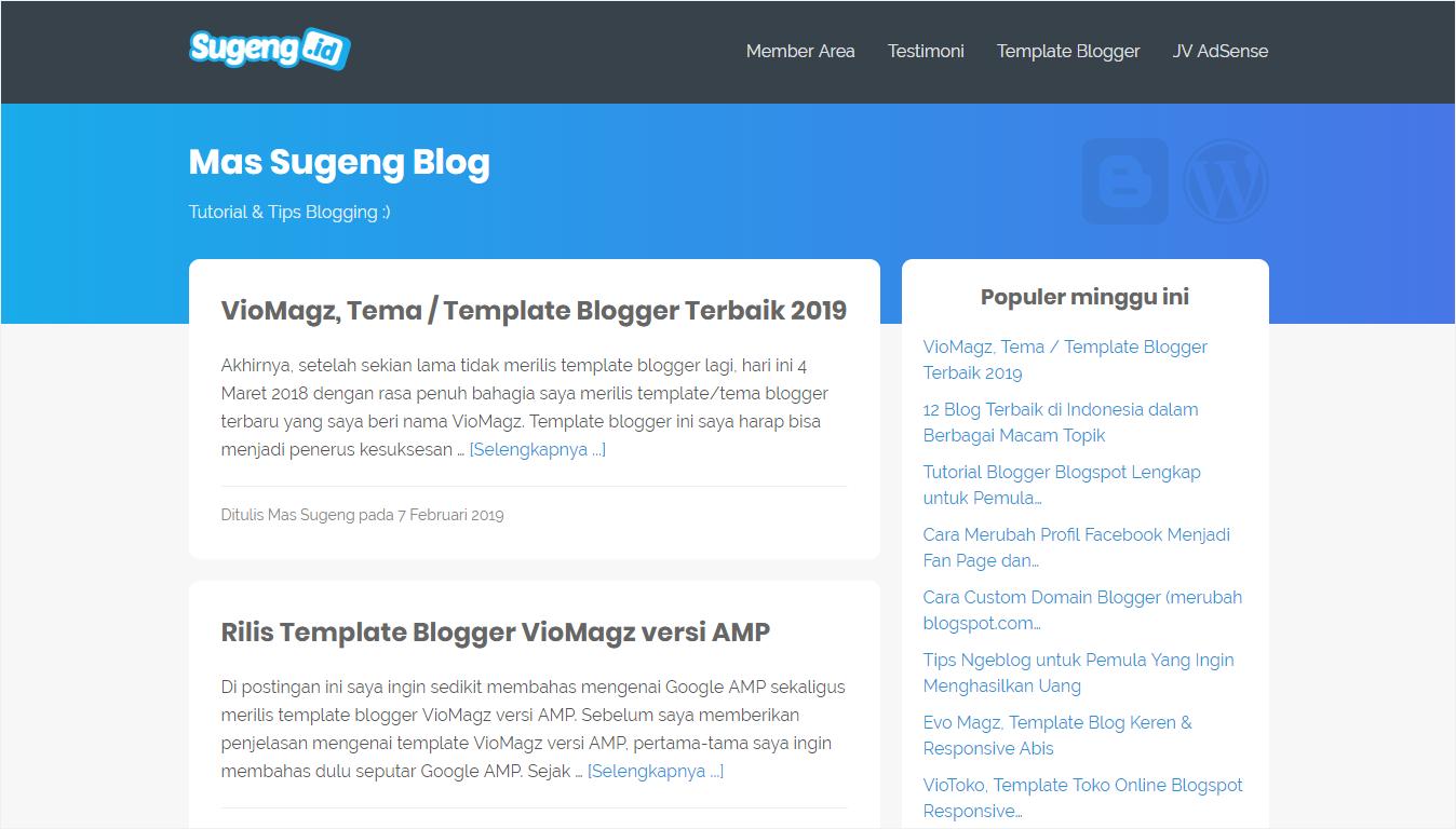 Halaman Depan Situs Mas Sugeng Blog - Nanda Network