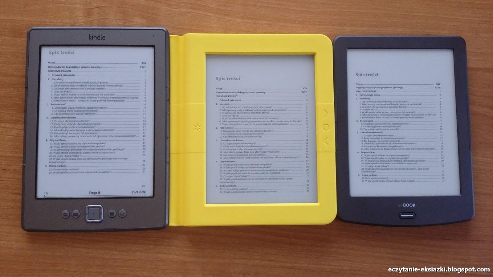 Kindle Classic, Bookeen Saga, InkBOOK Classic 2 - porównanie ekranów