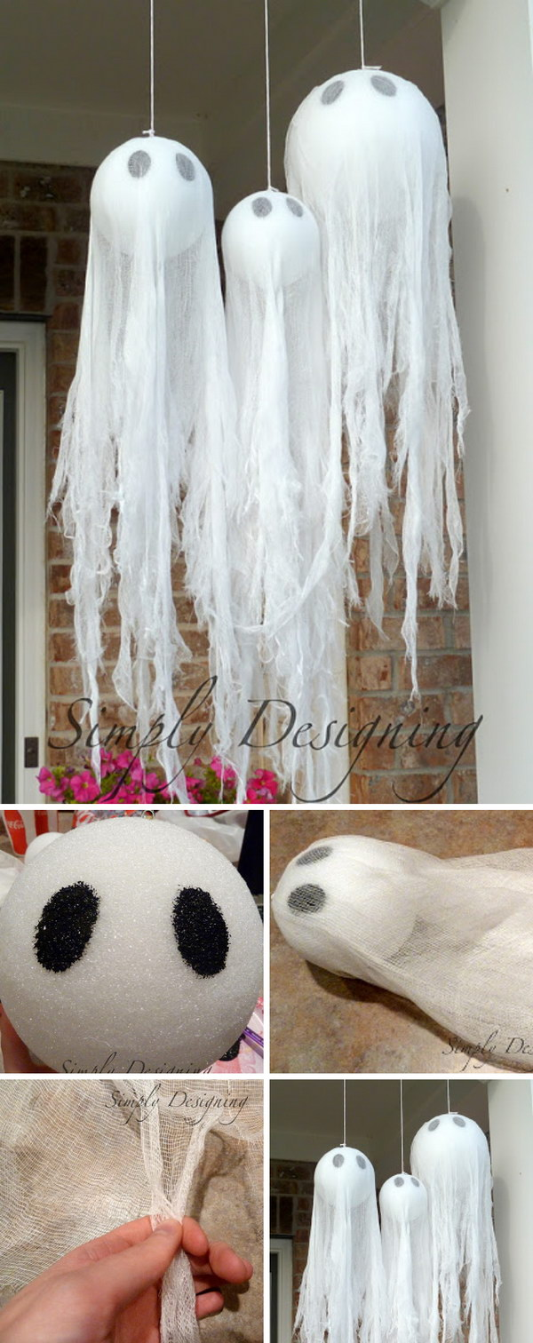 26 best Halloween decoration ideas for outdoor. DIY Halloween floating ghost ideas for porch décor. Best porch decoration ideas for Halloween. DIY floating ghost design and tutorial. Halloween party decoration. Halloween garden decoration ideas. Spooky decoration for Halloween.