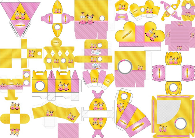 Minions Chicas: Cajas para Imprimir Gratis.