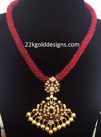 ruby mala with diamond pendant 22kgolddesigns