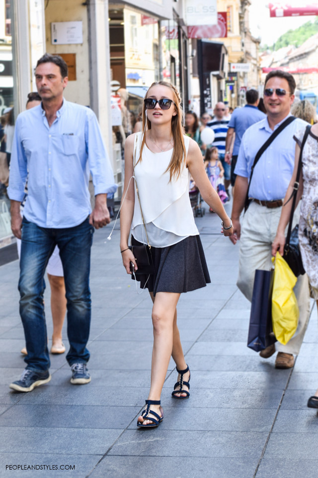 White sleeveless top and skater skirt Street style, summer fashion, June 2015. What to wear to work in summer