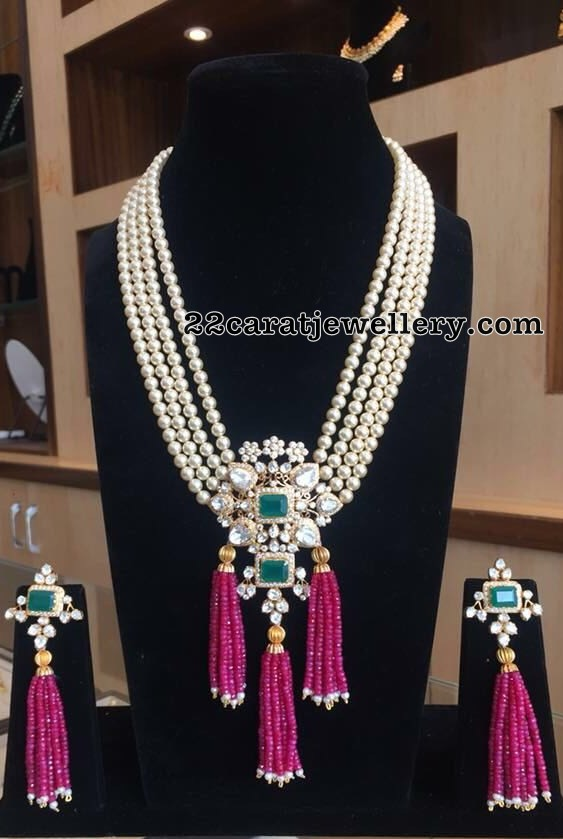 South Sea Pearls Set with Ruby Beads Tassels