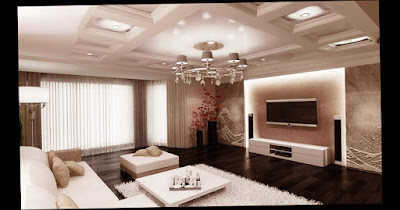 Amazing Pic of Modern Style Wall Decorating Ideas For Living Rooms White Color Plafond and Dark Color Floor