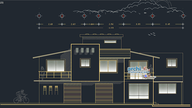 Family house two levels in AutoCAD