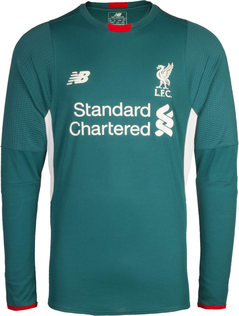 f321af374 The new Liverpool FC 15-16 Goalkeeper Third Kit combines the main color  dark turquoise with white applications and striking red details on the  collar and ...