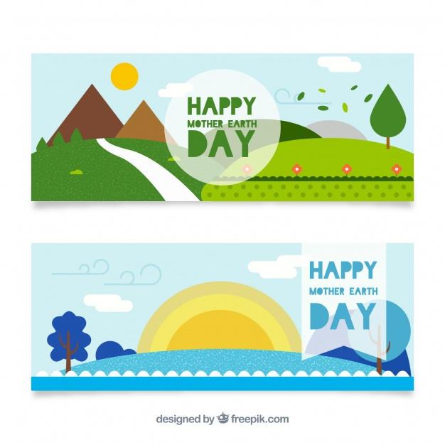 Happy mother earth day banners in flat design Free Vector