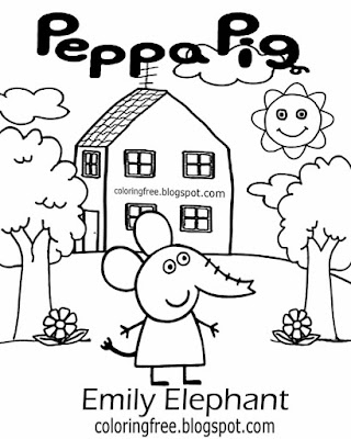 Funny piggy Teens illustration ideas Emily Elephant Peppa pig easy drawing printable colouring pages