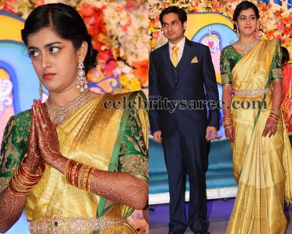 Producer Krishnam Raju Daughter Wedding Saree Blouse