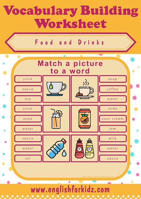 Free food and drinks vocabulary matching worksheet for English learners