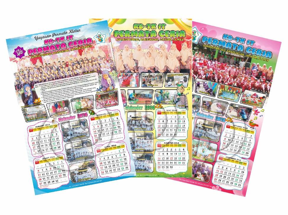 Cetak Kalender Dinding 3 Lembar Murah - Cetak Kalender 2017