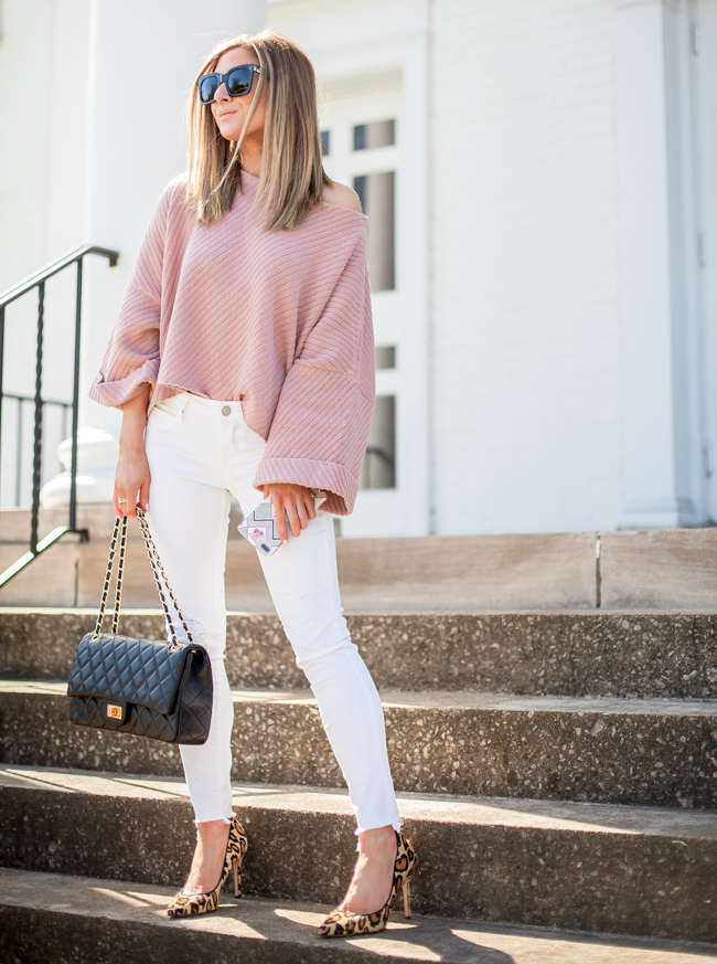free people rose colored crop sweater with articles of society distressed white jeans