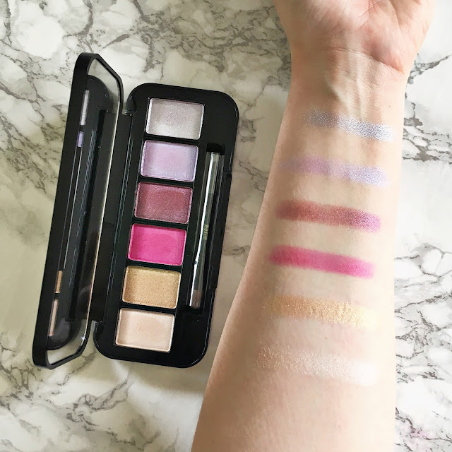 Buxom Eyeshadow Bar Singles in Silk Sheets, Gold Status, Party Girl, La-La Lavish, and Silver Screen Swatches