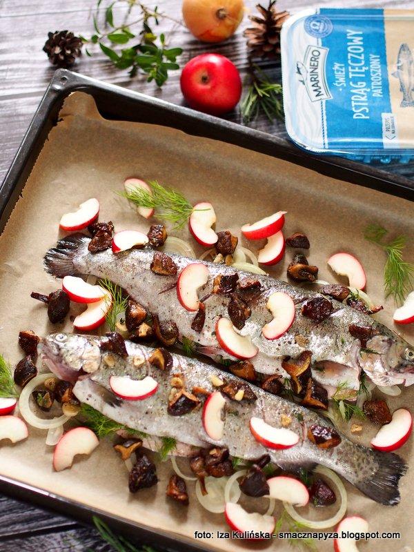 nasz pstrag, ryba pieczona z grzybami, podgrzybki, pstrag marinero, swieze ryby, z biedronki, biedronka, zdrowa rybka