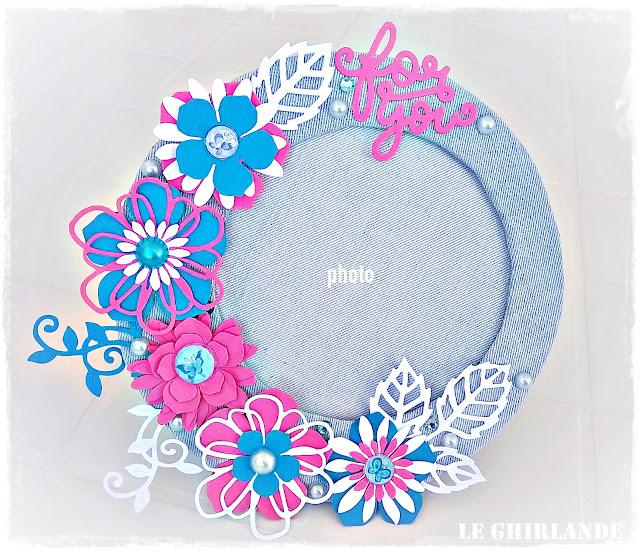 Cornice con fiori riciclo jeans