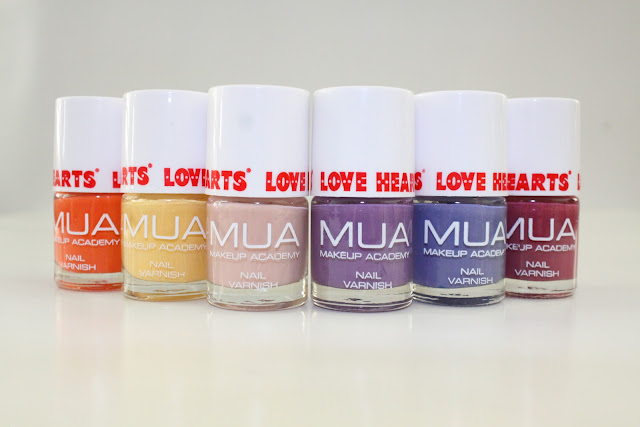the full range of MUA Love hearts nail varnish