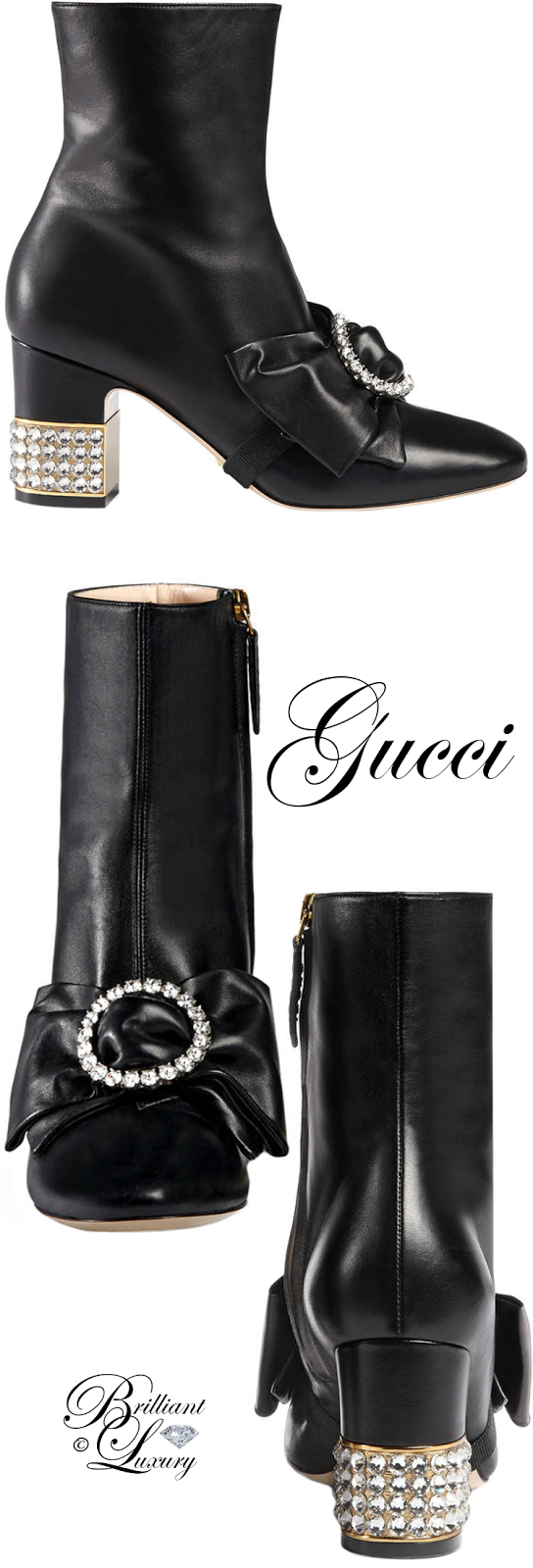 Brilliant Luxury ♦ Gucci Leather Ankle Boot with Removable Leather Bow
