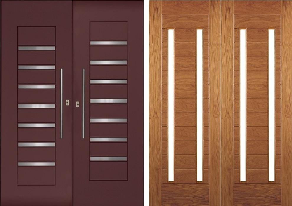 Desain Daun Pintu Ganda Minimalis Kombinasi Kaca Rumah Sae