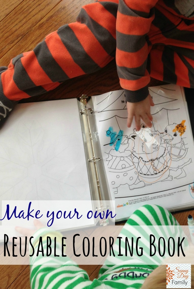 Make your own reusable coloring book! Save money with this easy DIY project that kids love!