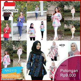 NAG113 Blouse Batik Wanita Atasan Wanita Blouse Motif Bagus Bmgshop