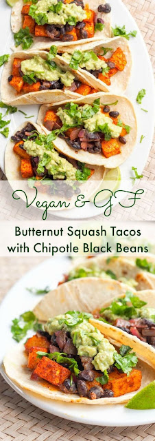 VEGAN BUTTERNUT SQUASH TACOS WITH CHIPOTLE BLACK BEANS (GF)