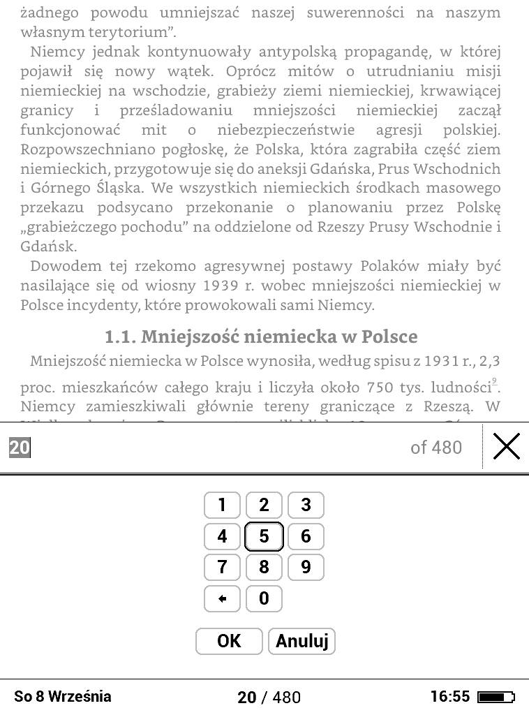 PocketBook Basic Lux 2 – wybieranie numeru strony