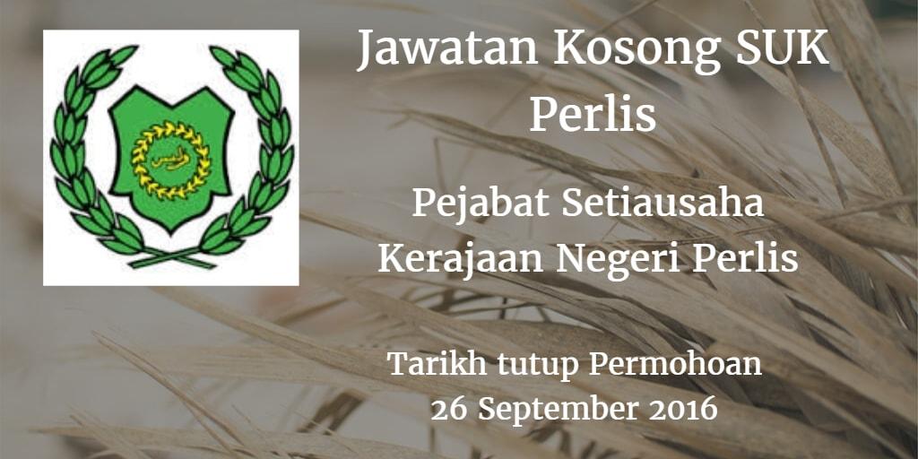 Jawatan Kosong SUK Perlis 26 September 2016