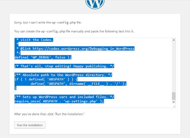 copy script wp-config.php