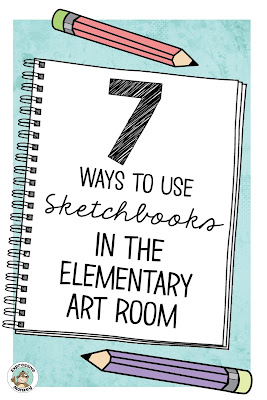 Why I started using sketchbooks in my elementary art classroom, 7 ways I used sketchbooks, and benefits students got from using them.  Plus a few tips for getting started, making sketchbooks and keeping sketchbooks organized.