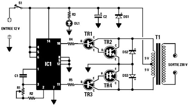 Circuit 12v To 220ac Dc To Ac Inverter Dc To Ac Inverter Simple Dc