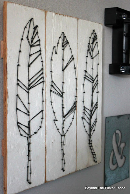 Target, string art, feathers DIY, http://bec4-beyondthepicketfence.blogspot.com/2015/08/knock-off-target-string-art.html