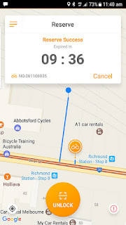 App screen showing reserved location and time remaining