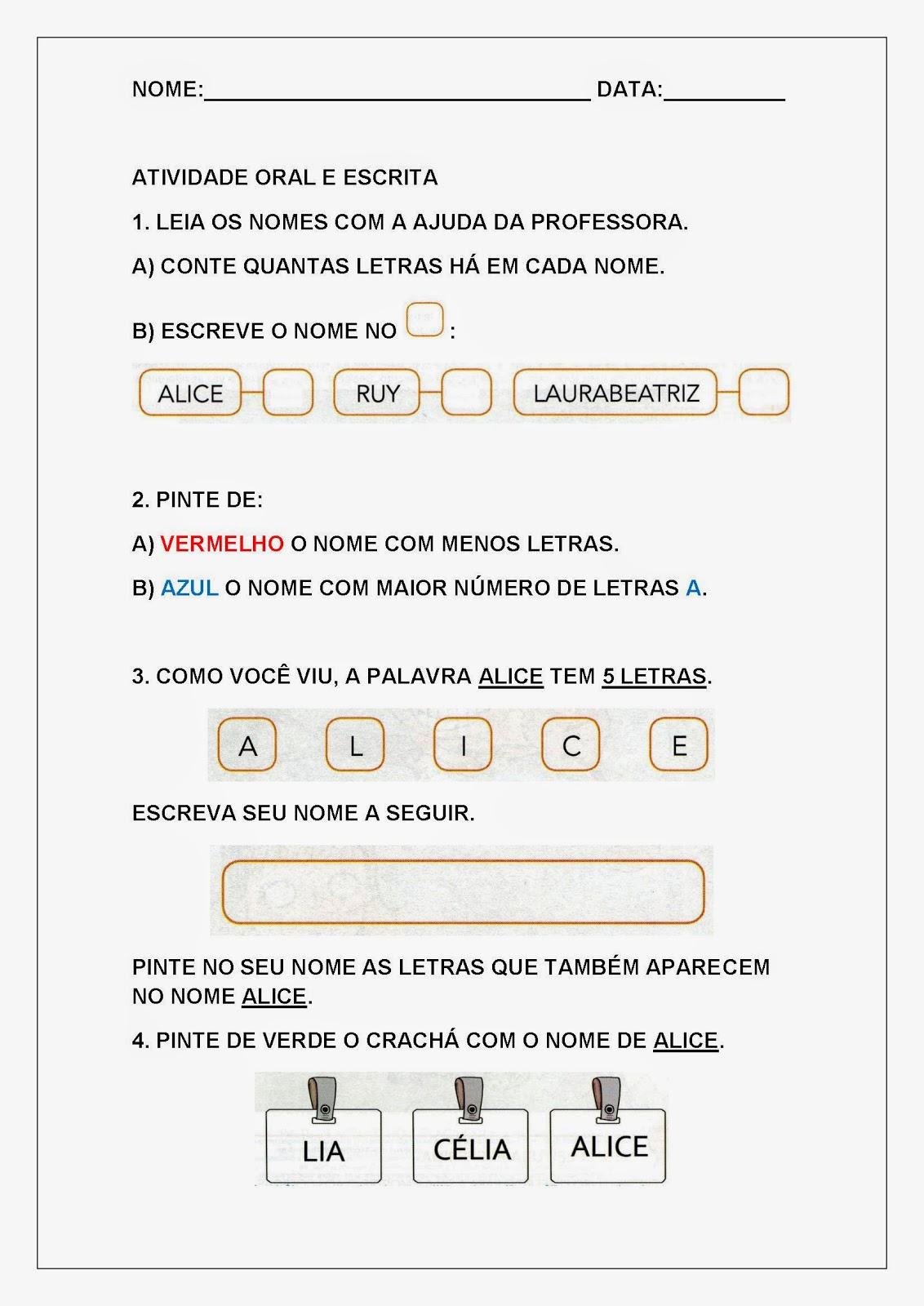 Atividades de Letramento para Imprimir - Atividade oral e escrita