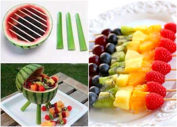 barbacoa, frutas, sandia, barbacoa, brochetas de frutas