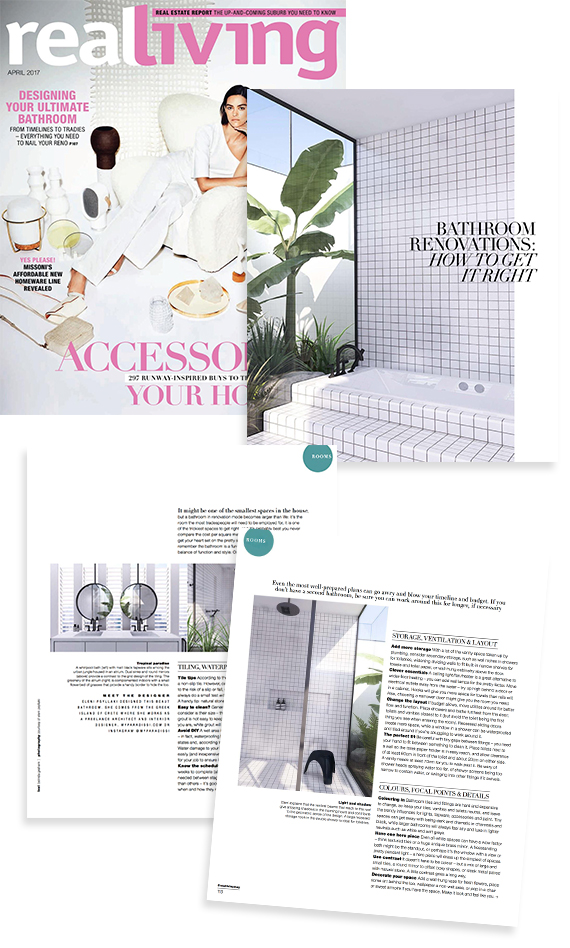 Contemporary minimalistic bathroom design by Eleni Psyllaki feature on Real Living magazine April 2017