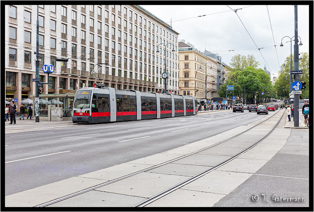 A tram at Opernring and Kärntner Straße – Vienna – May 2015
