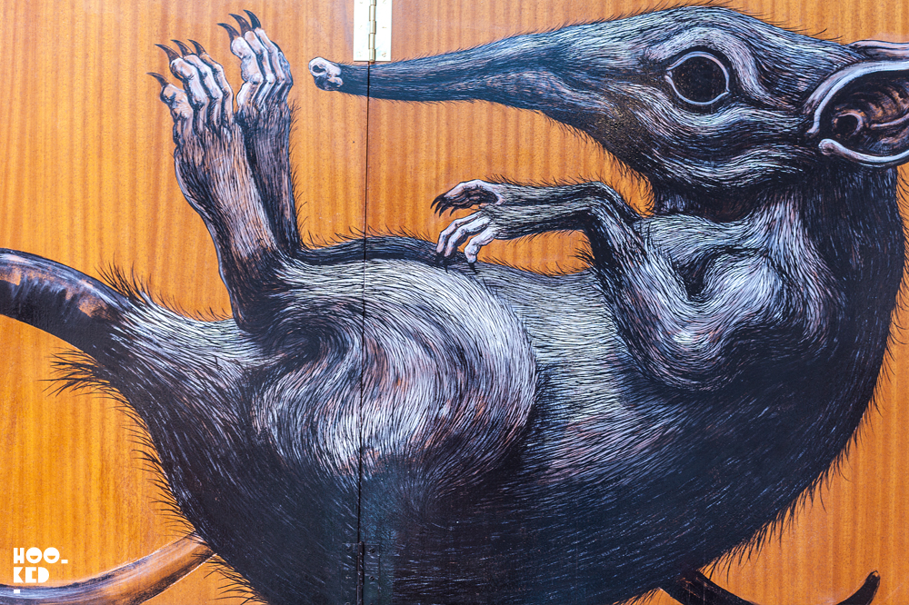Belgian street artist ROA at work in his studio.