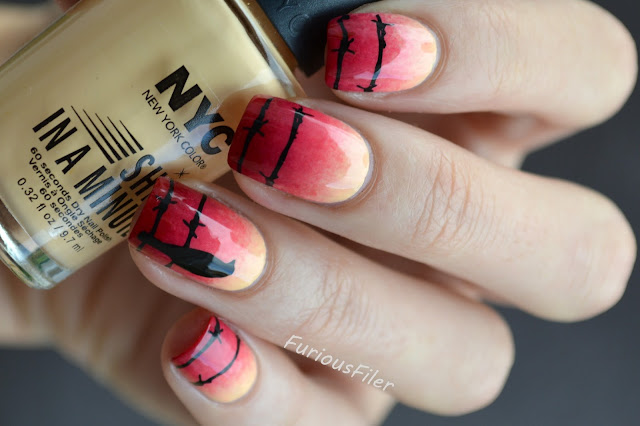 #31dc2015 gradient sunset stamp barbed wire nails