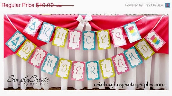SALE Alice In Wonderland Inspired Banner DIGITAL File 8.5 x 11 Jpeg Files Personalized