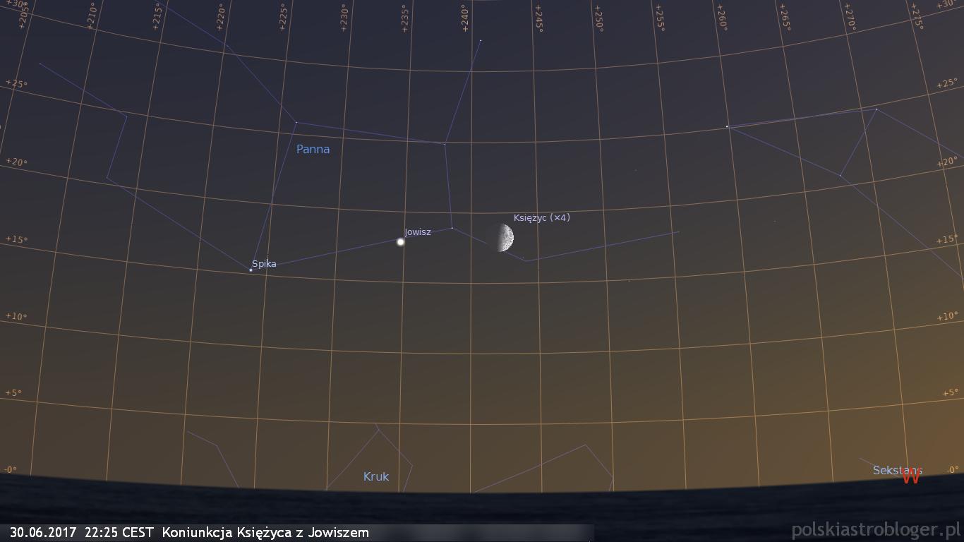 30.06.2017  22:25 CEST  Koniunkcja Księżyca z Jowiszem