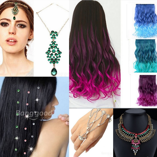 #inspiration for the #festivals season: #accessories edition! Head piece:  Ombre extensions:Hair rhinestones: Slave bracelet: Statement necklace