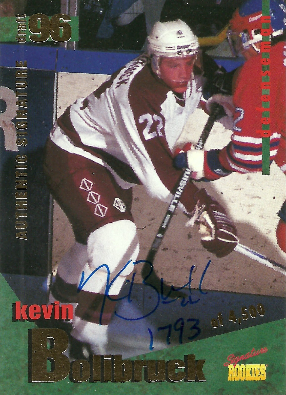 66edcf865 ... a wholly different set of 4500 signed cards (this one numbered 2350)  for/of relative nobodies, wearing the Petes' dark blue (away) uniform: