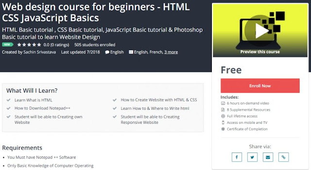 [100% Free] Web design course for beginners - HTML CSS JavaScript Basics