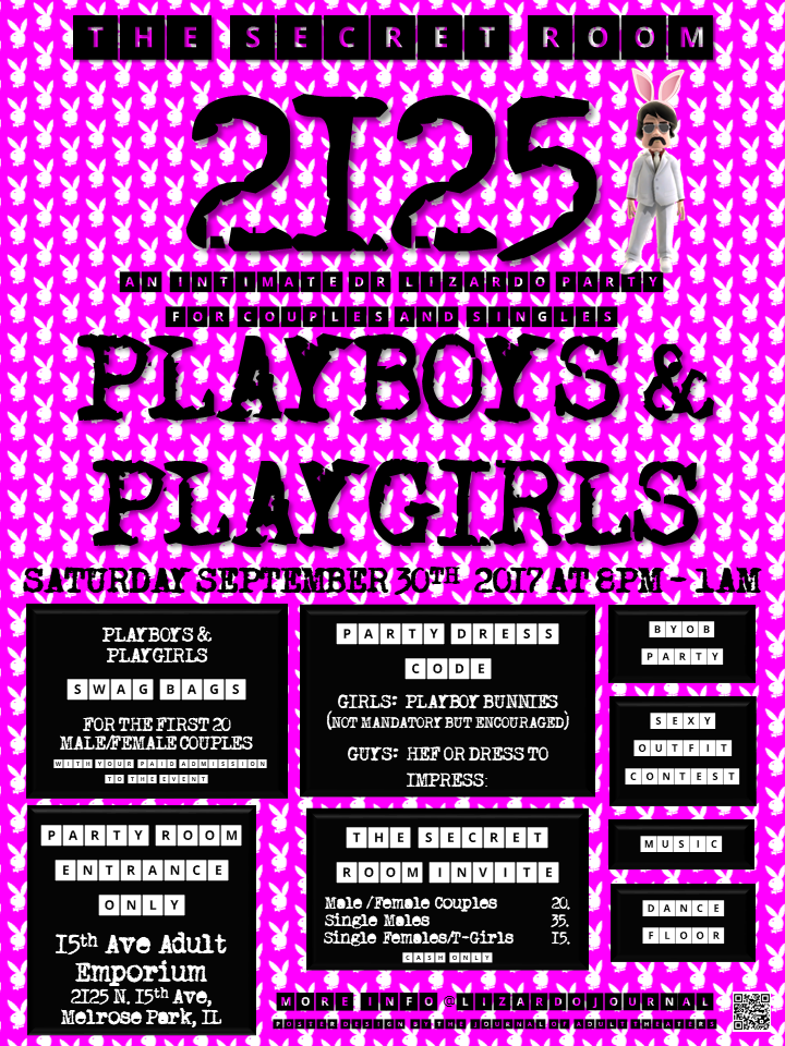 The Secret Room 2125: Playboys & Playgirls Party at 15th Ave. Adult Theater Party Room in Chicago!