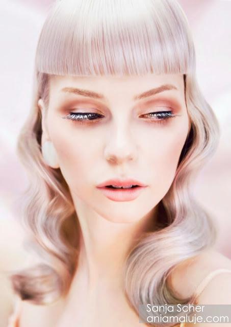 srebrne białe siwe włosy z grzywką